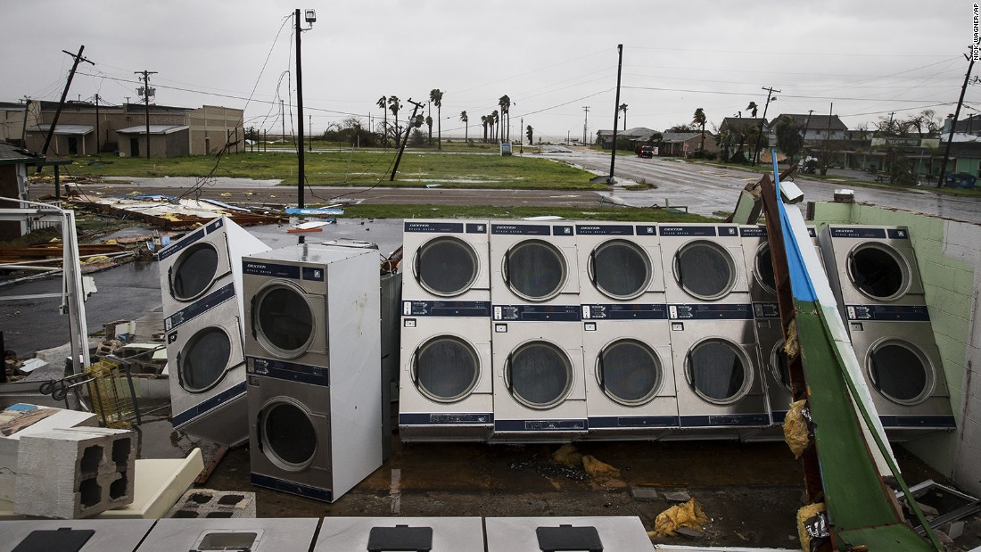 A laundromat's machines are exposed to the elements in Rockport on August 26.