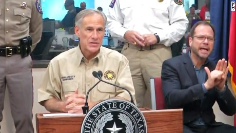 Texas Governor Greg Abbott updates the press about the response to Hurricane Harvey from the capitol Austin on August 26.