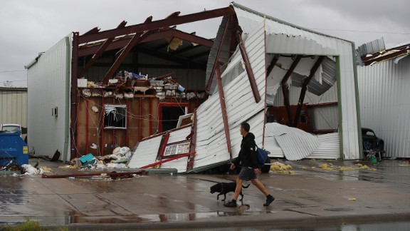 A damaged building is seen after Hurricane Harvey passed through Rockport.
