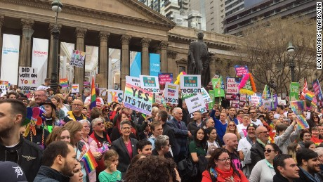 Thousands attended a rally calling for a yes vote in Melbourne on August 26.