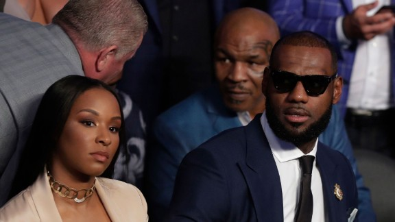 There were many celebrities on hand to watch the fight, including basketball star LeBron James. Behind James is boxing legend Mike Tyson.