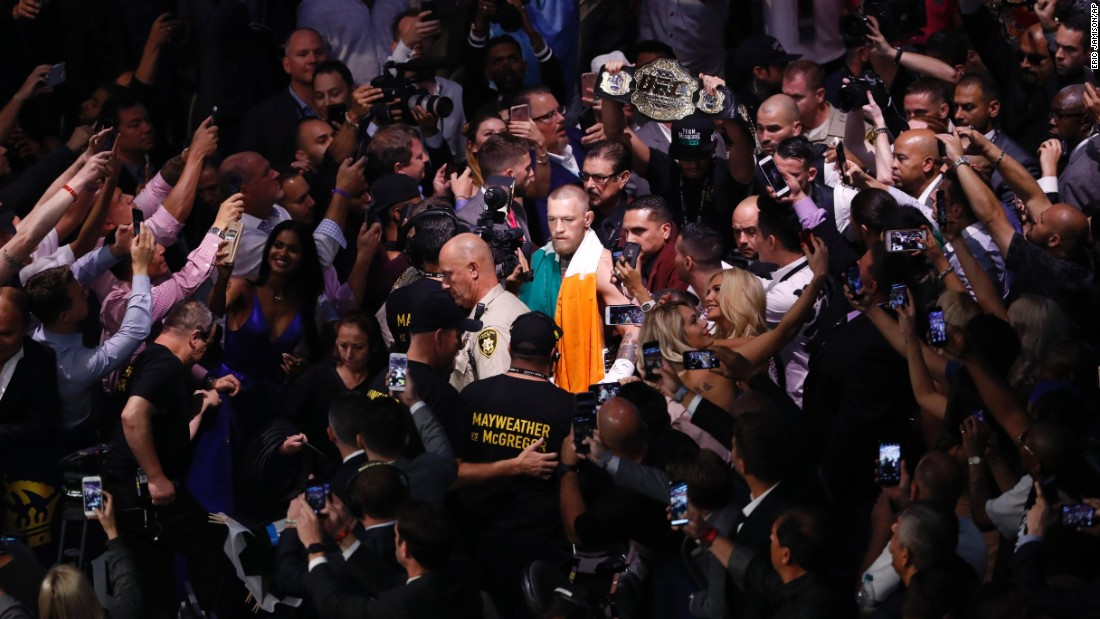 McGregor entered the arena first, draped in the Irish flag.