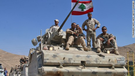 Lebanese soldiers in Ras Baalbek, where they have been fighting ISIS militants near the Syrian border.