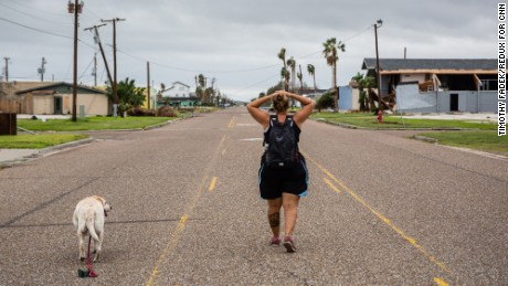 Residents of Rockport, Texas return to their damaged and destroyed homes two days after Hurricane Harvey made landfall at this coastal Texas town, Sunday August 27, 2016