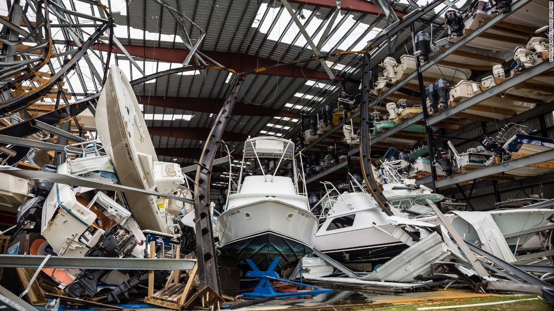 Damage is seen at a boat storage building in Rockport on August 27.