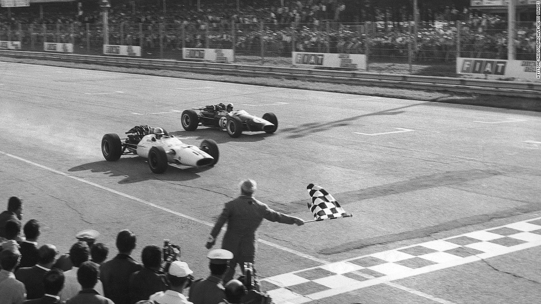 Surtees (left) won the Italian Grand Prix twice in 1964 and 1967 (pictured).