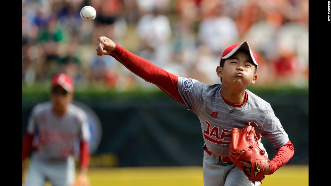 Japan's Tsubasa Tomii pitches in the championship game of the Little League World Series on Sunday, August 27. Tomii's team won the title with a 12-2 victory over a team from Lufkin, Texas.