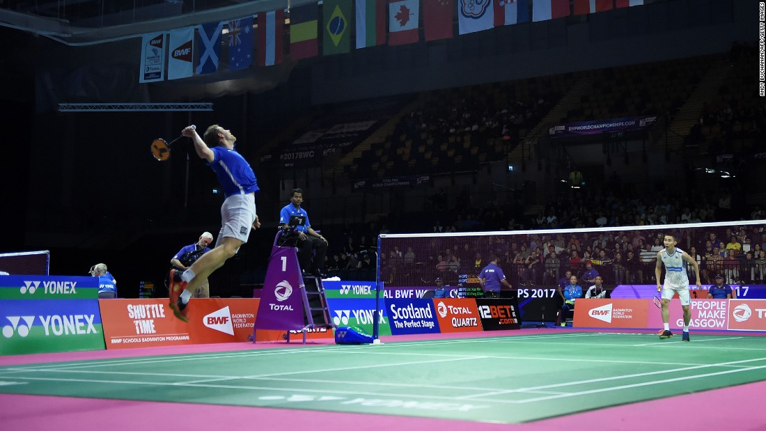 France's Brice Leverdez returns a shot against Malaysia's Lee Chong Wei during the World Badminton Championships on Tuesday, August 22.