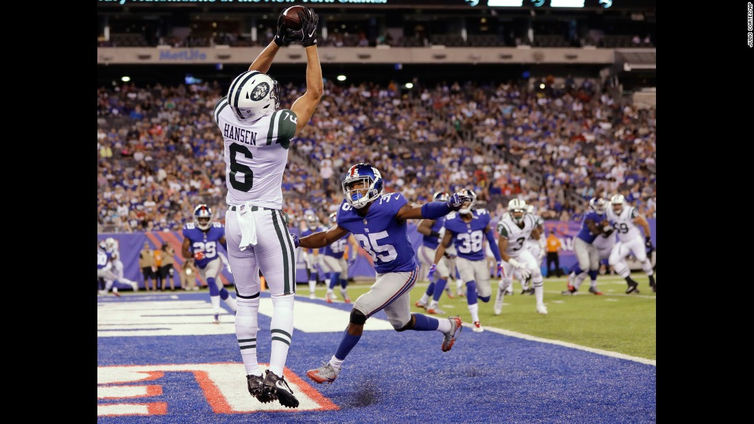 New York Jets wide receiver Chad Hansen catches a two-point conversion during an NFL preseason game in East Rutherford, New Jersey, on Saturday, August 26.