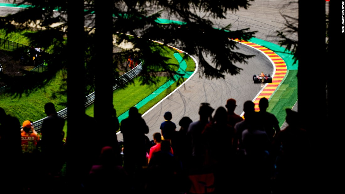 Formula One fans watch Max Verstappen during the Belgian Grand Prix on Sunday, August 27.