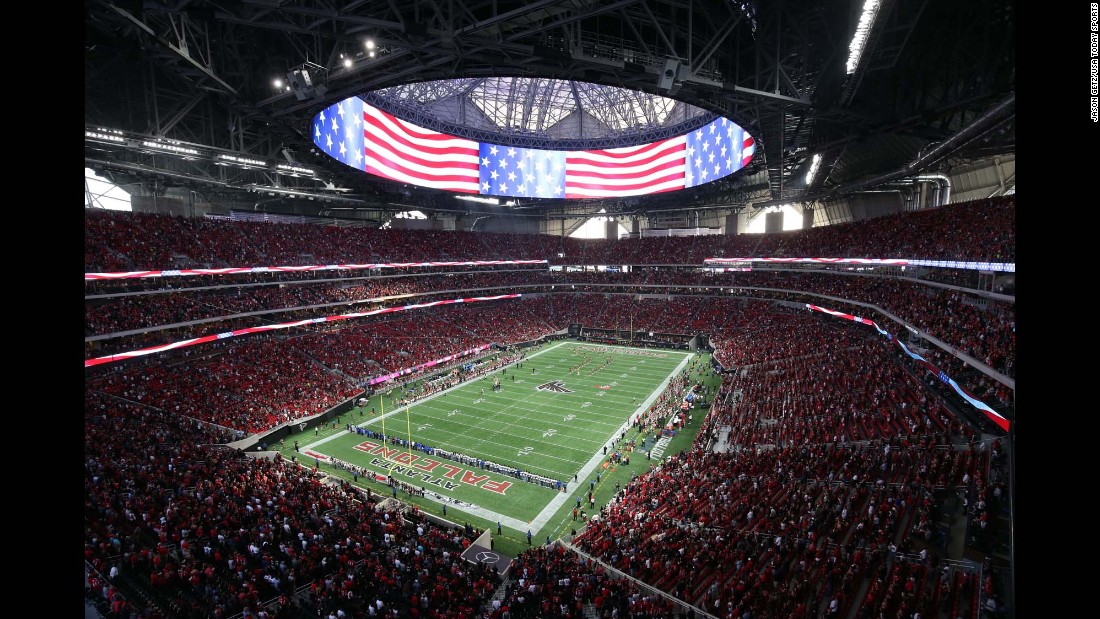 "The national anthem is played before an NFL preseason game in Atlanta on Saturday, August 26. It was the first time the Falcons were playing at their new Mercedes-Benz Stadium. <a href=""http://www.cnn.com/2017/08/22/sport/gallery/what-a-shot-sports-0822/index.html"" target=""_blank"">See 24 amazing sports photos from last week</a>"
