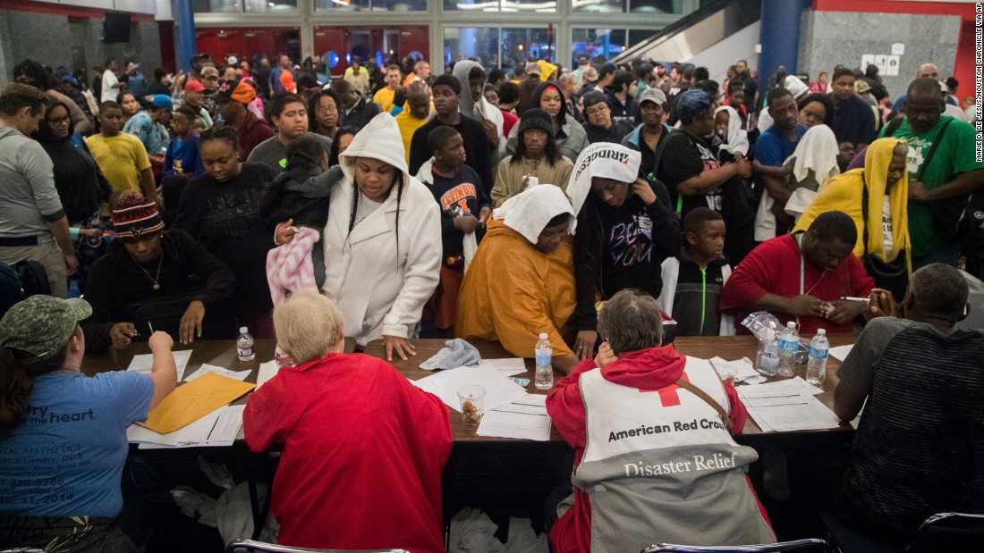 Thousands take shelter at the George R. Brown Convention Center in Houston on August 28.