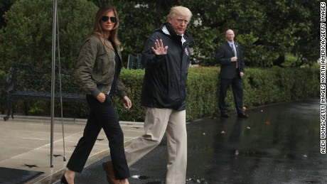 WASHINGTON, DC - AUGUST 29:  U.S. President Donald Trump walks with first lady Melania Trump prior to their Marine One departure from the White House August 29, 2017 in Washington, DC. President Trump was traveling to Texas to observe the Hurricane Harvey relief efforts.  (Photo by Alex Wong/Getty Images)