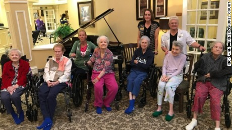 Several of the patients evacuated yesterday due to Hurricane Harvey from Dickinson, TX nursing home relax at their new home Laurel Court skilled nursing community (part of Cantex Continuing Care Network) in nearby Alvin, TX.