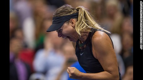 Maria Sharapova celebrates victory during her 1st round women?s singles match against Simona Halep US Open Tennis, USTA, Flushing Meadow, New York, 28 Aug 2017 (Rex Features via AP Images)