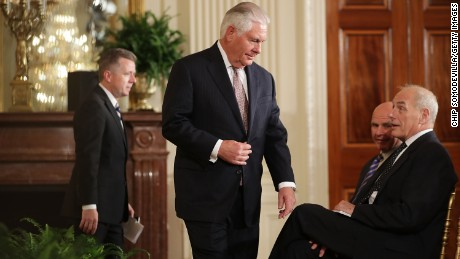 WASHINGTON, DC:  Secretary of State Rex Tillerson (C) finds a seat next to National Security Advisor H.R. McMaster and White House Chief of Staff John Kelly before a joint news conference with U.S. President Donald Trump and Finnish President Sauli Niinisto in the East Room of the White House August 28, 2017 in Washington, DC. The two leaders discussed security in the Baltic Sea region, NATO and Russia during their meeting. (Chip Somodevilla/Getty Images)