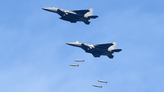 Two F-15K fighter jets dropping MK 84 bombs as part of a South Korean live-fire drill Tuesday morning.