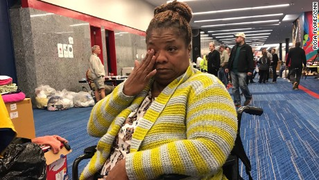 Karen Preston is wheelchair-bound but had to leave her wheelchair behind in her flooded home when members of the Coast Guard came to rescue her -- on jet skis. Preston was able to get a new wheelchair at Houston's George R. Brown Convention Center, where she's staying indefinitely with her husband and son.