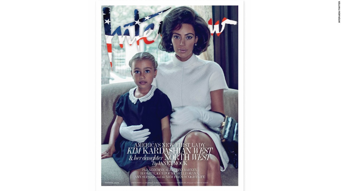 The September 2017 cover of Interview magazine featuring Kim Kardashian West and her daughter North stirred controversy.  Some were offended by the reality star channeling Jacqueline Kennedy Onassis and Kardashian West's darker than usual complexion.