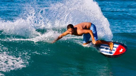 Emiliano Cataldi surfs in Angoche, Nampula Province, Mozambique.