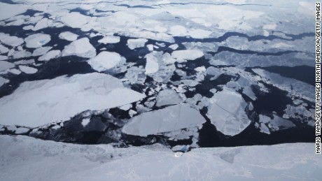 GREENLAND - MARCH 30:  Sea ice is seen from NASA's Operation IceBridge research aircraft off the northwest coast on March 30, 2017 above Greenland. NASA's Operation IceBridge has been studying how polar ice has evolved over the past nine years and is currently flying a set of eight-hour research flights over ice sheets and the Arctic Ocean to monitor Arctic ice loss aboard a retrofitted 1966 Lockheed P-3 aircraft. According to NASA scientists and the National Snow and Ice Data Center (NSIDC), sea ice in the Arctic appears to have reached its lowest maximum wintertime extent ever recorded on March 7.Scientists have said the Arctic has been one of the regions hardest hit by climate change.  (Photo by Mario Tama/Getty Images)