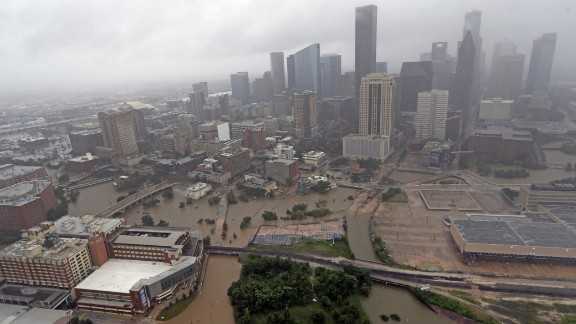 Floodwaters from Tropical Storm Harvey overrun downtown Houston on Tuesday, August 29.