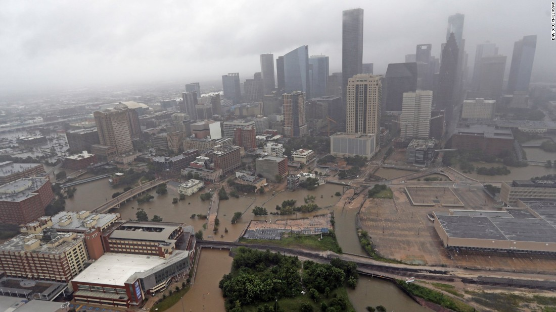 An overview of downtown Houston on August 29 shows the scale of the catastrophic flooding.
