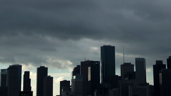 A view of the Houston skyline after heavy rains broke during the aftermath of Hurricane Harvey August 29, 2017.