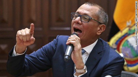 "Ecuadorian Vice President Jorge Glas made a declaration in his office in response to the attorney general's announcement that he would present evidence of ""illicit association"" against Glas and ask the National Court of Justice to set a hearing date, in Quito on August 21, 2017. Glas, who was stripped of his functions in early August after delivering a scathing critique of President Lenin Moreno, has been buffeted by a wave of corruption accusations from the opposition, including allegations of links to the scandal surrounding Brazilian construction giant Odebrecht, which has sent shockwaves across the region.  / AFP PHOTO / JUAN CEVALLOS        (Photo credit should read JUAN CEVALLOS/AFP/Getty Images)"
