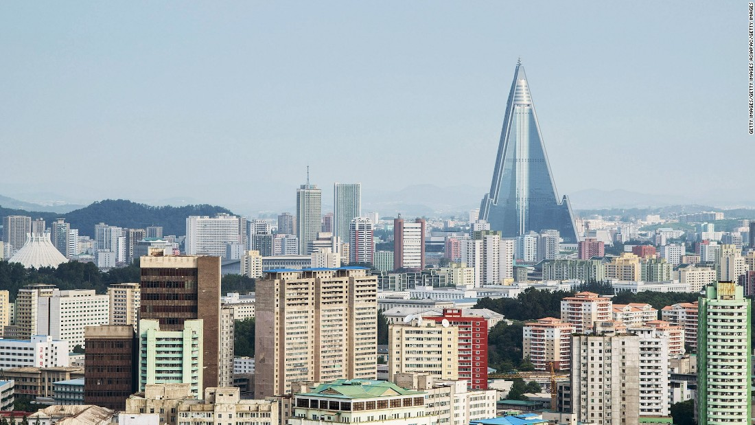 <strong>Ryugyong Hotel Tower:</strong>  A view of the Pyongyang cityscape, looking towards the infamous unfinished Ryugyong Hotel Tower from Yanggakdo Hotel.