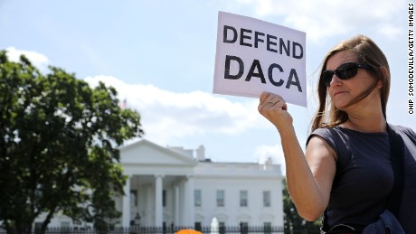 As a possible decision on DACA looms, a group of protesters supporting the program gathered in front of the White House Wednesday.