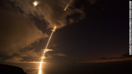 A medium-range ballistic missile target is launched from the Pacific Missile Range Facility on Kauai, Hawaii.