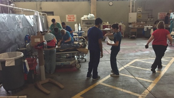 St. Joseph set up a triage center in the hospital loading dock to care for the influx of patients.