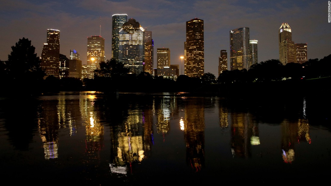Downtown Houston is reflected in the flooded Buffalo Bayou on Wednesday, August 30, five days after Hurricane Harvey  made landfall in Texas. The Category 4 storm came ashore late Friday, August 25, just north of Port Aransas, and has caused historic flooding. <em>Correction: Previous versions of this gallery incorrectly reported that Hurricane Harvey is the strongest storm to make landfall in the United States since Wilma in 2005. Harvey is actually the strongest storm to make landfall in the United States since Charley in 2004.</em>