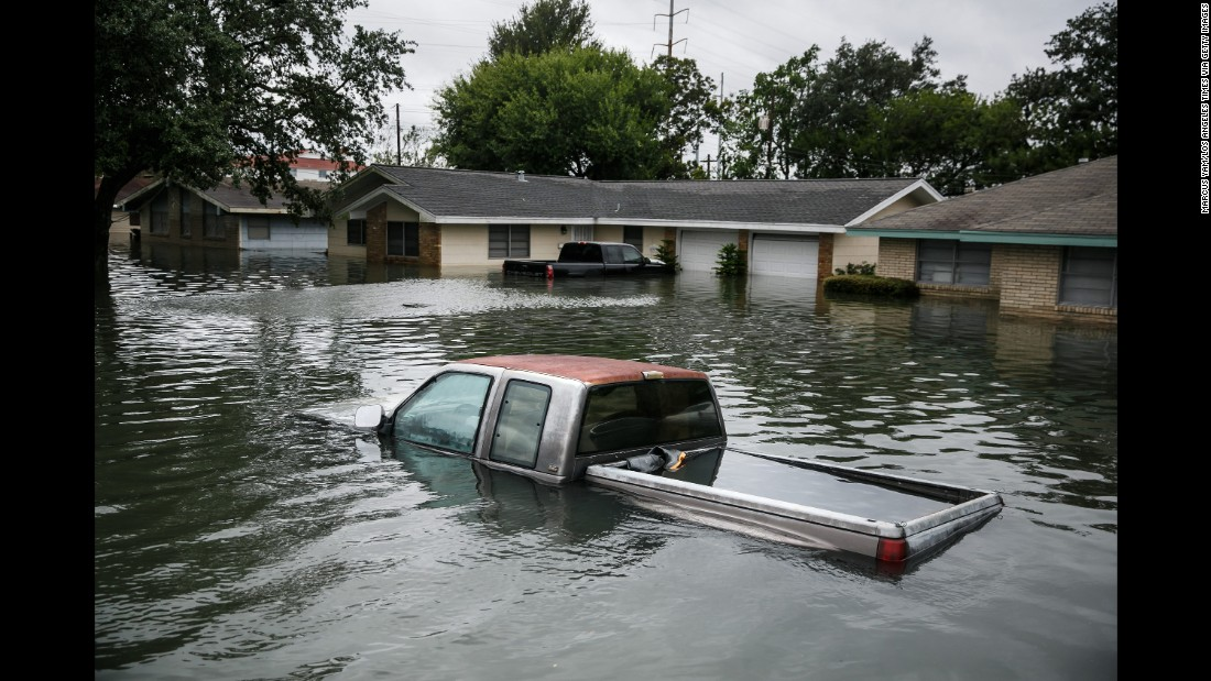 Floodwaters engulf homes in Port Arthur on August 30.