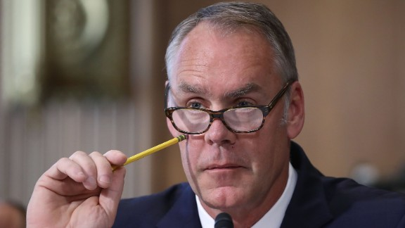 WASHINGTON, DC:  Interior Secretary Ryan Zinke listens to a question during a Senate Energy and Natural Resources Committee hearing on Capitol Hill, on June 20, 2017 in Washington, DC. The committee heard testimony on U.S. President Donald Trump's proposed FY2018 budget request for the Interior Department.  (Mark Wilson/Getty Images)