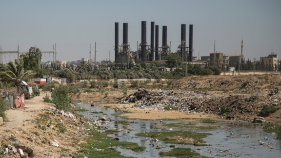 Raw, stagnant sewage is seen near the Nuseirat power station in Gaza in June.