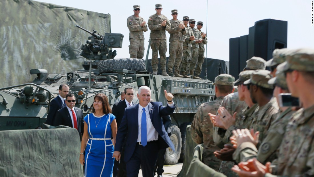Vice President Mike Pence and his wife, Karen, greet service members who were taking part in military exercises outside Tbilisi, Georgia, on Tuesday, August 1. Pence was touring Europe to visit various US allies.