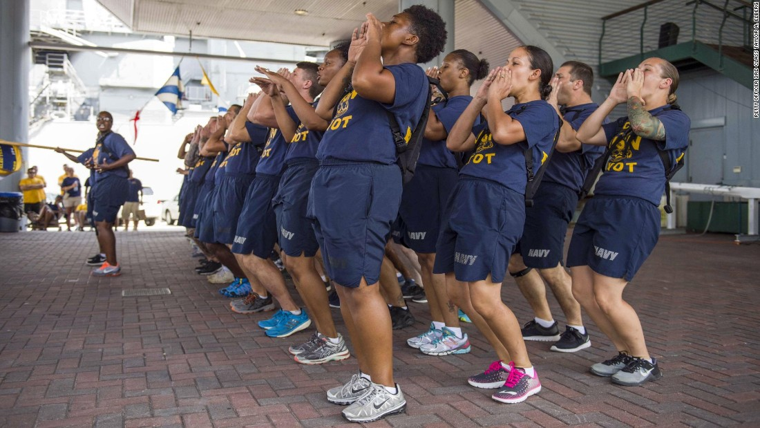 Sailors selected to be chief petty officers perform a cadence during a competition in Norfolk, Virginia, on Tuesday, August 22. It was part of the annual Chief Petty Officer Heritage Days.