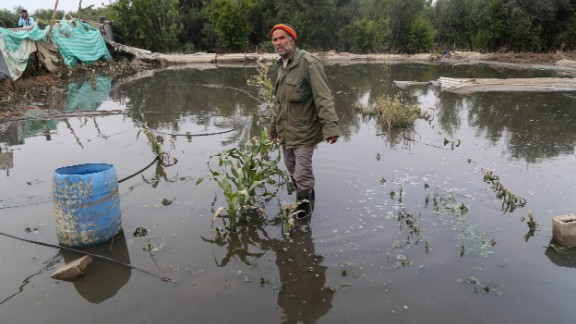 A Palestinian farmer wades through his flooded land after a sewage reservoir in Gaza collapsed last spring.
