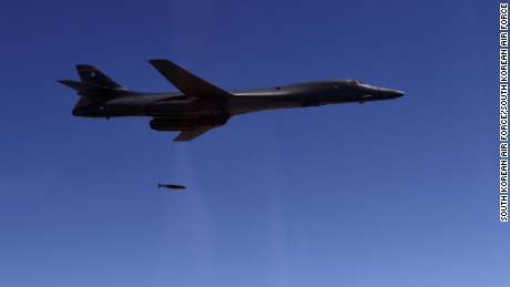A US B-1B bomber is seen during an exercise over the Korean Peninsula on Thursday.