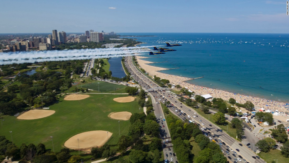 The Blue Angels, the US Navy's flight demonstration squadron, practice for the Chicago Air and Water Show on Friday, August 18.