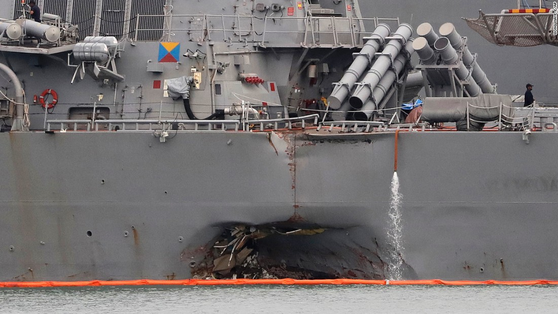 "Damage can be seen on the USS John S. McCain after the Navy destroyer collided with an oil tanker near Singapore on Monday, August 21. <a href=""http://www.cnn.com/2017/08/28/politics/uss-john-s-mccain-sailors-recovered/index.html"" target=""_blank"">Ten sailors were killed.</a>"