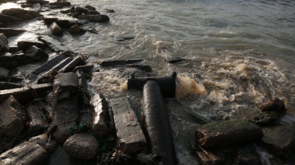 Sewage flows into the Mediterranean Sea at the Al-Shati Camp in Gaza in July.