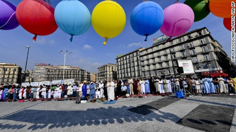 Muslims pray to celebrate Eid al-Adha in Naples, in southern Italy, last year