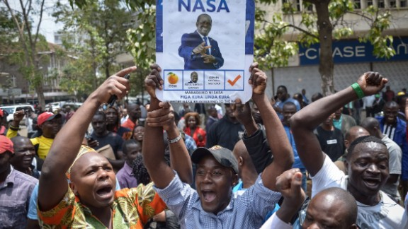 Supporters of Kenya's National Super Alliance (NASA) celebrate after the Supreme Court ordered a re-run of the August 8 presidential poll in Nairobi on September 1, 2017.