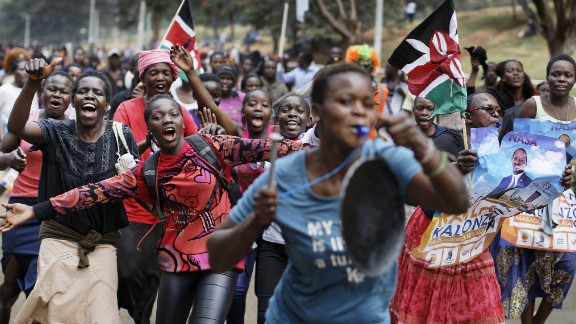 Opposition supporters celebrate Friday in Nairobi's Uhuru Park after hearing about the ruling.