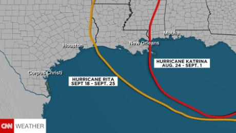 Track of Hurricane Rita compared to Hurricane Katrina in 2005.