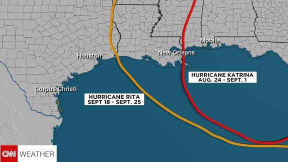Track of Hurricane Rita compared to Hurricane Katrina