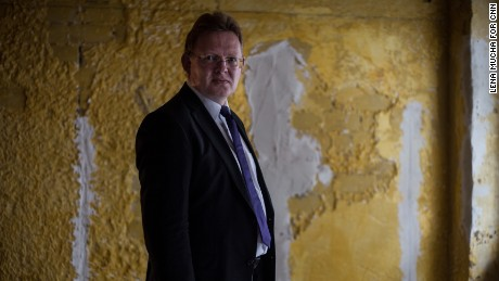 Altena Mayor Andreas Hollstein is pictured in the town's new integration center for refugee families in September.